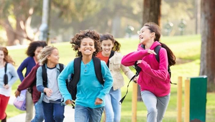 Happy Children On Trail